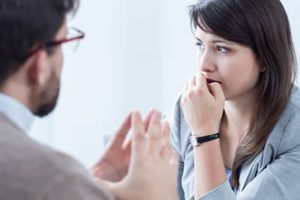 a person in therapy during meth treatment